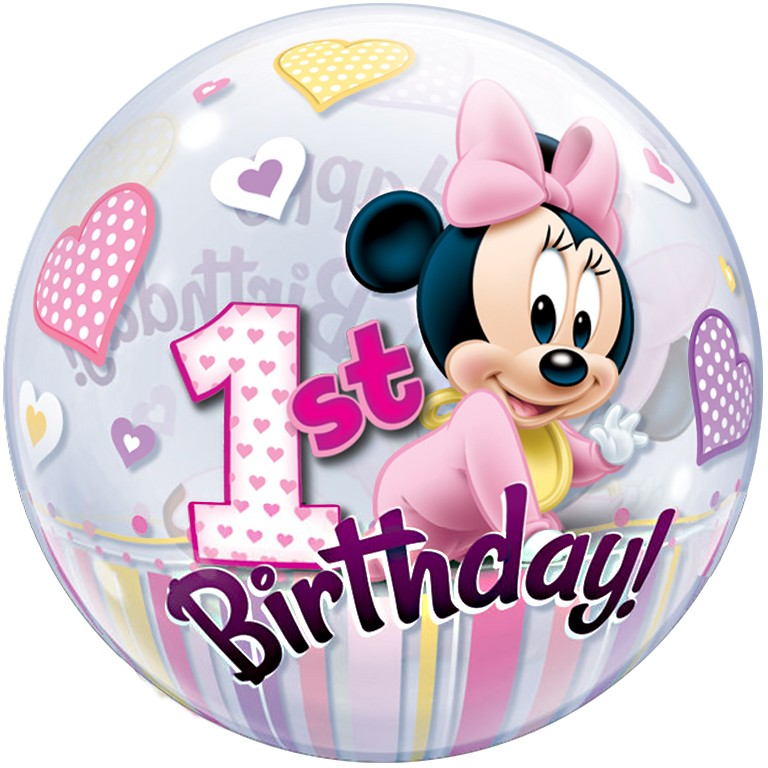 More Views Bubbles Minnie Mouse 1st Birthday Balloon