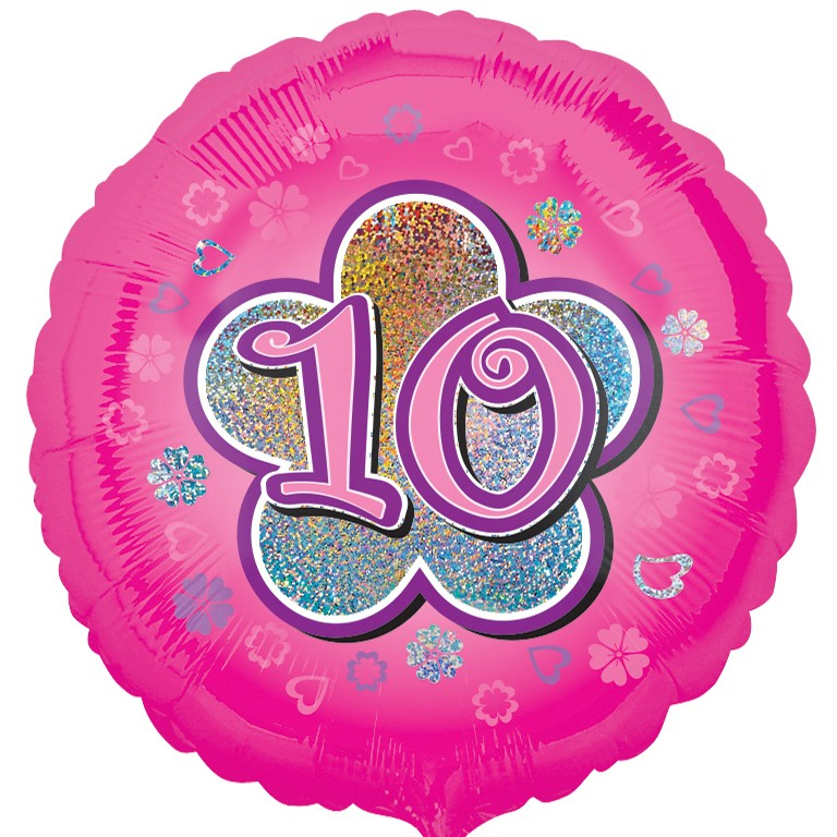 Pink Flowers 10 Balloon 10th Birthday