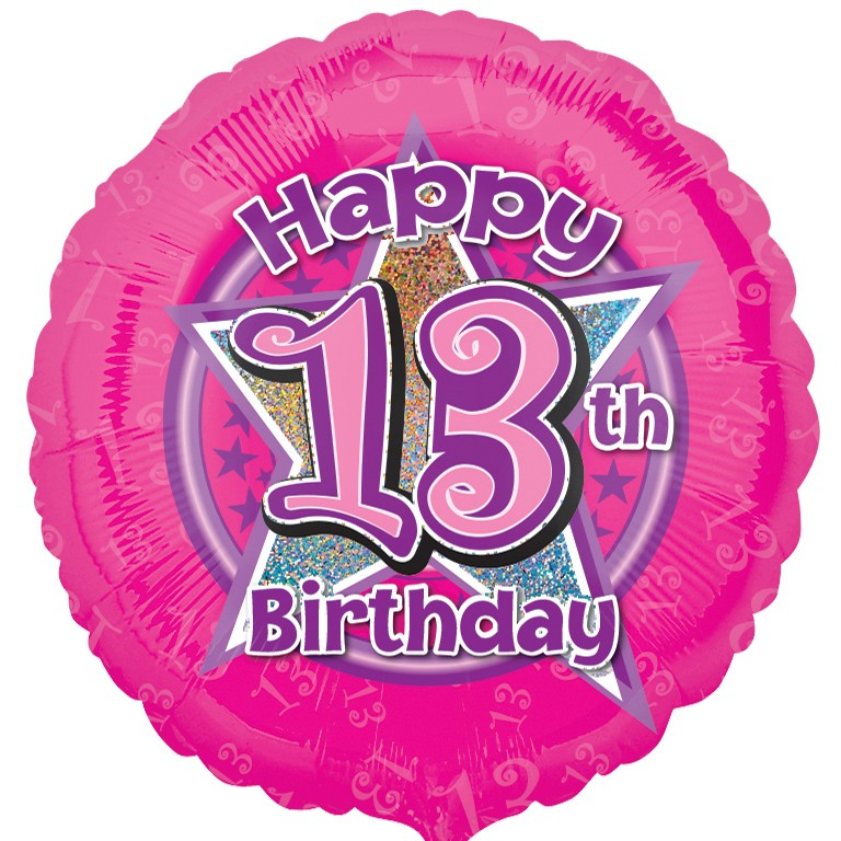 Pink Flowers 13 Balloon 13th