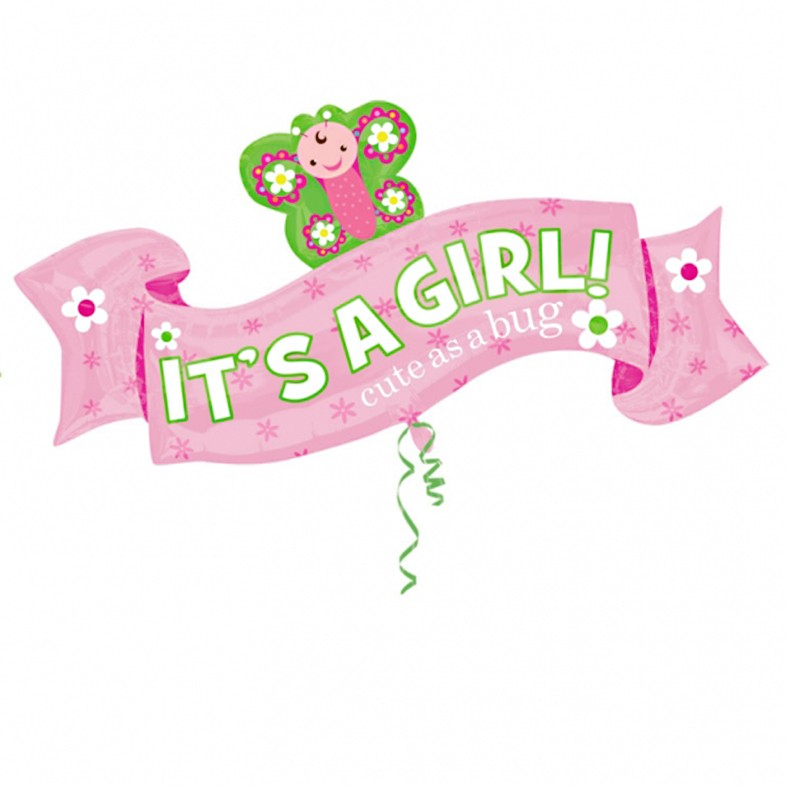 it s a girl banner balloon delivered inflated in uk
