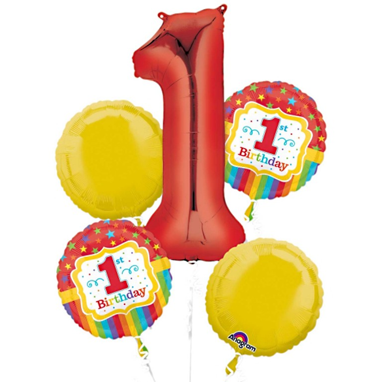 1st Birthday Balloon Bouquet Delivered Inflated In UK