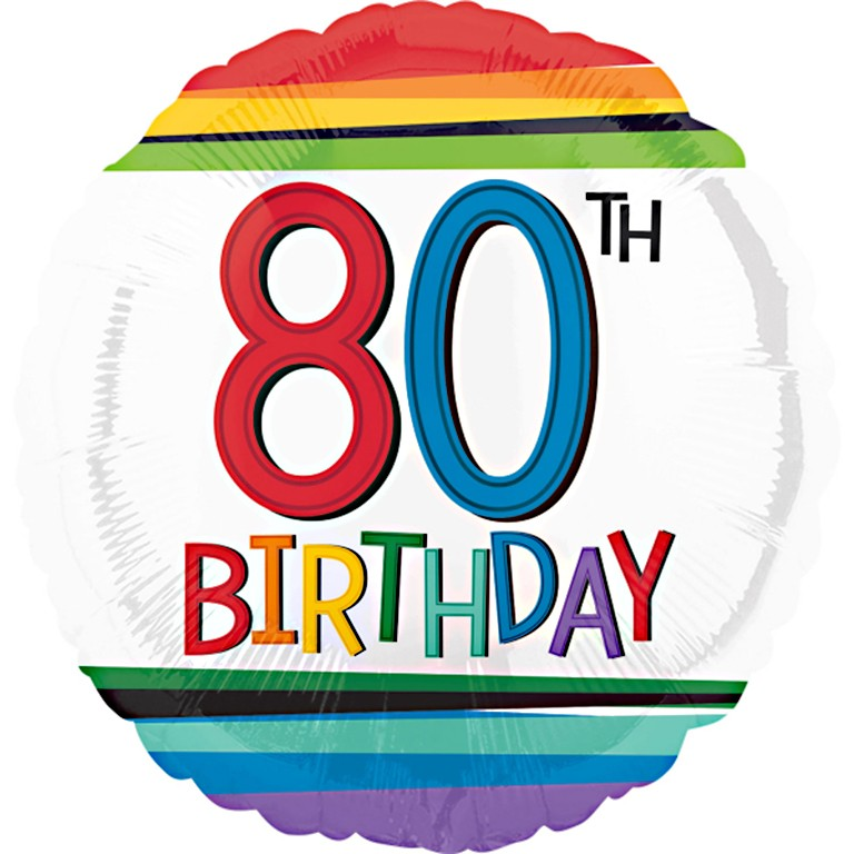 Rainbow 80th Birthday Balloon Delivered Inflated In UK