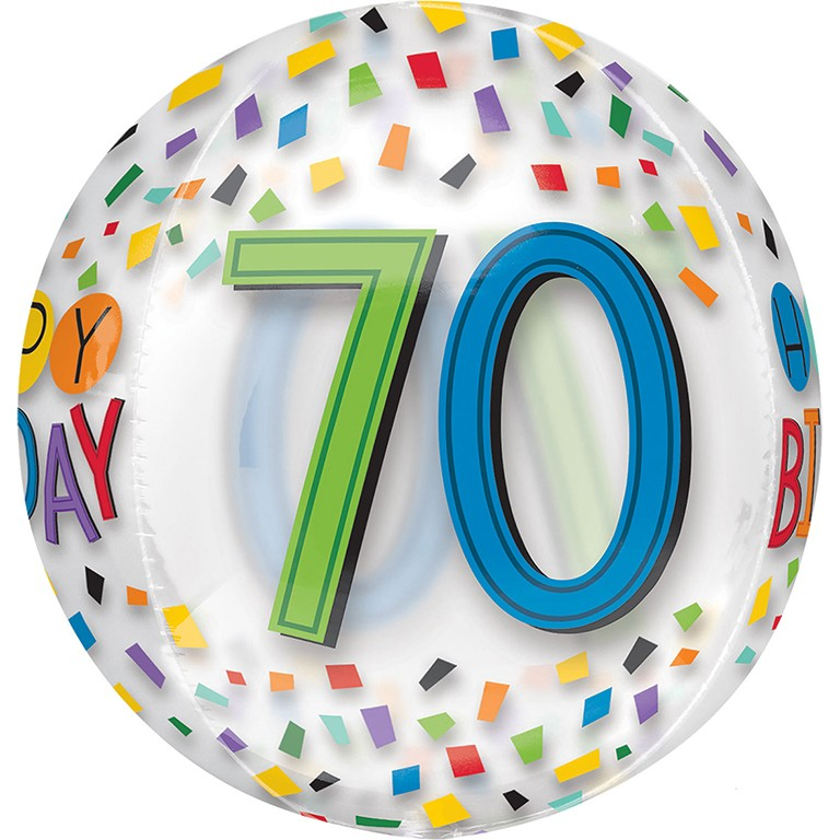 Orbz Clear 70th Birthday Balloon