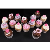 Hearts and Flowers Cupcakes - Gift Box of 16