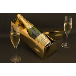 Heidsieck & Co Monopole Gold Top Champagne comes in an Embossed, Gold Ingot Shaped Gift Box
