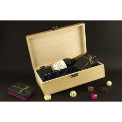 Wine & Chocolates in a Silk Lined Wooden Gift Case