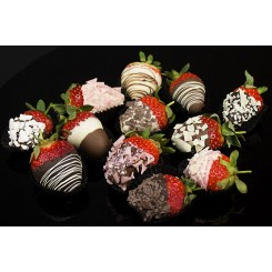 12 Red Roses with 12 Luxury Chocolate Dipped Strawberries