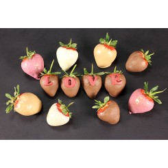 12 Pink Dipped Striped Strawberries