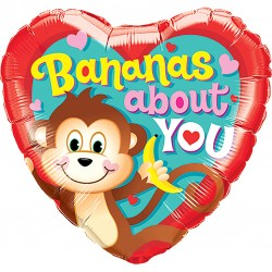 Bananas About You Heart Balloon