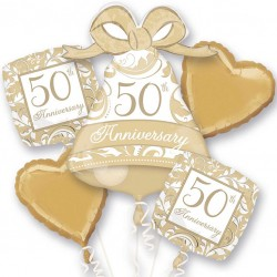 Gold 50th Anniversary Balloon Bouquet