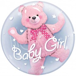 Baby Girl Teddy Bubbles Balloon