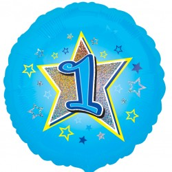 Blue Stars 1st Birthday Balloon