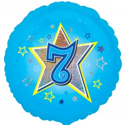 Blue Stars 7th Birthday Balloon