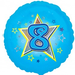 Blue Stars 8th Birthday Balloon