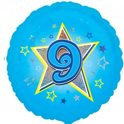 Blue Stars 9th Birthday Balloon