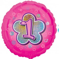 Pink Flowers 1st Birthday Balloon