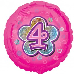 Pink Flowers 4th Birthday Balloon