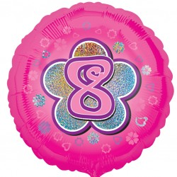 Pink Flowers 8th Birthday Balloon