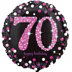 Celebration Pink 70th Birthday Balloon