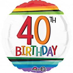 Rainbow 40th Birthday Balloon