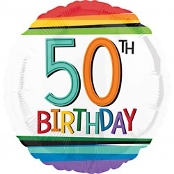 Rainbow 50th Birthday Balloon