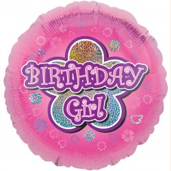Pink Stars Birthday Girl Balloon