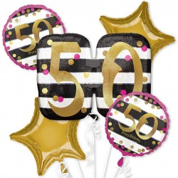 Pink and Gold 50th Birthday Balloon Bouquet
