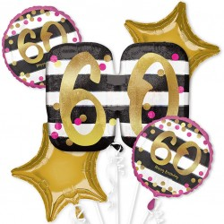 Pink and Gold 60th Birthday Balloon Bouquet