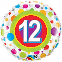 Polka Dots 12th Birthday Balloon