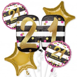 Pink and Gold 21st Birthday Balloon Bouquet