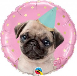 Party Pug Birthday Balloon