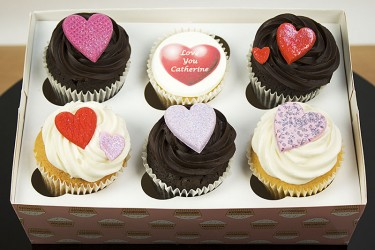 Valentines Day Personalised Chocolate and Iced Cupcakes - Box of 6