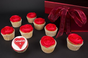 Personalised Red Rose Cupcakes
