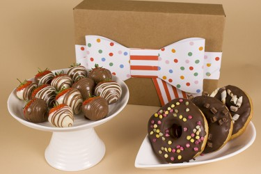 Assorted Doughnuts and Swirled Strawberries