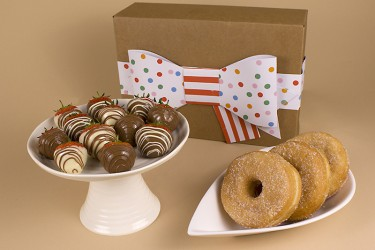 Sugar Doughnuts and 12 Dipped Swirled Strawberries