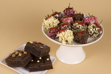 Party Time Brownies and 12 Gourmet Selection Dipped Strawberries