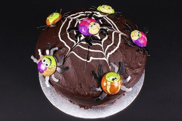 Sneaky Spiders Halloween Chocolate Fudge Cake