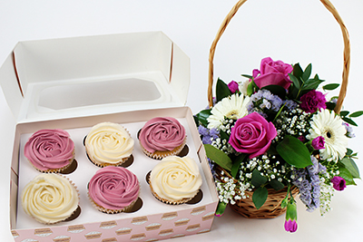 Flower Basket with Rose Cupcakes